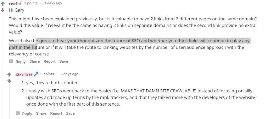 Gary Illyes positive Antwort auf die Frage, ob mehrere Backlinks von einer Domain gewertet werden.