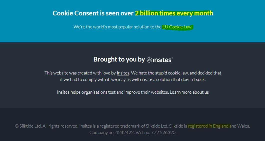 Cookie Bullshit ausserhalb der EU