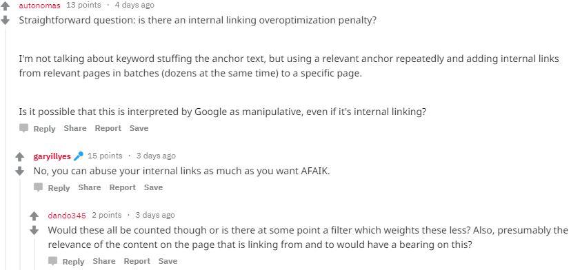 Gary Illyes Antwort auf die Frage, ob es eine interne Link Penalty gibt
